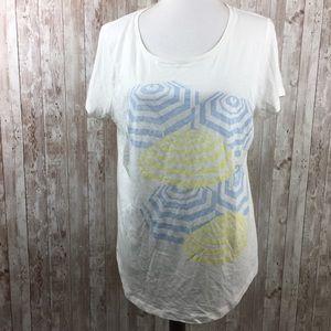 Ann Taylor Umbrella Graphic XL Tee Shirt Blue